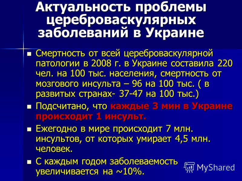 Актуальность проблемы цереброваскулярных заболеваний в Украине Смертность от всей цереброваскулярной патологии в 2008 г. в Украине составила 220 чел. на 100 тыс. населения, смертность от мозгового инсульта – 96 на 100 тыс. ( в развитых странах- 37-47