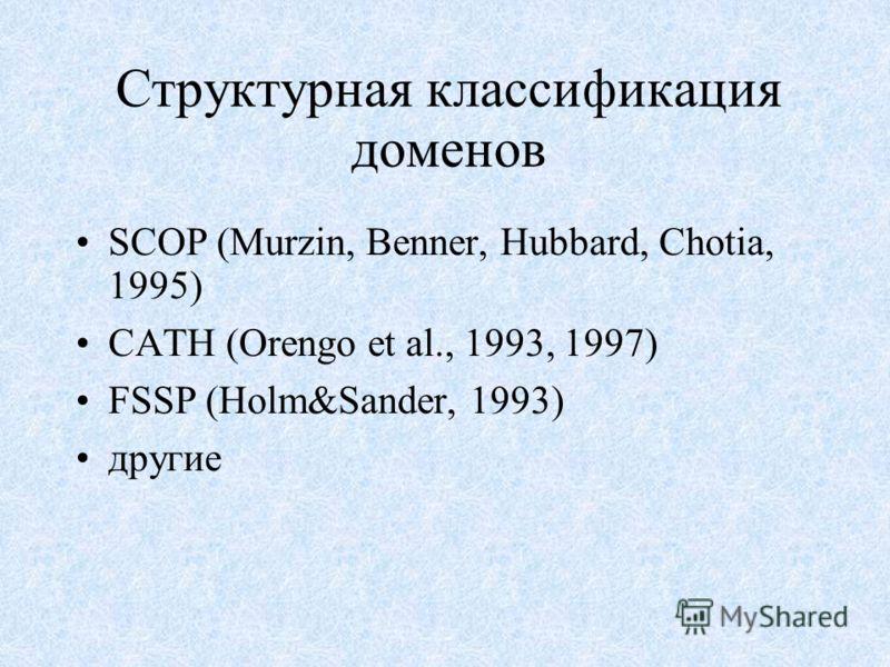 Структурная классификация доменов SCOP (Murzin, Benner, Hubbard, Chotia, 1995) CATH (Orengo et al., 1993, 1997) FSSP (Holm&Sander, 1993) другие
