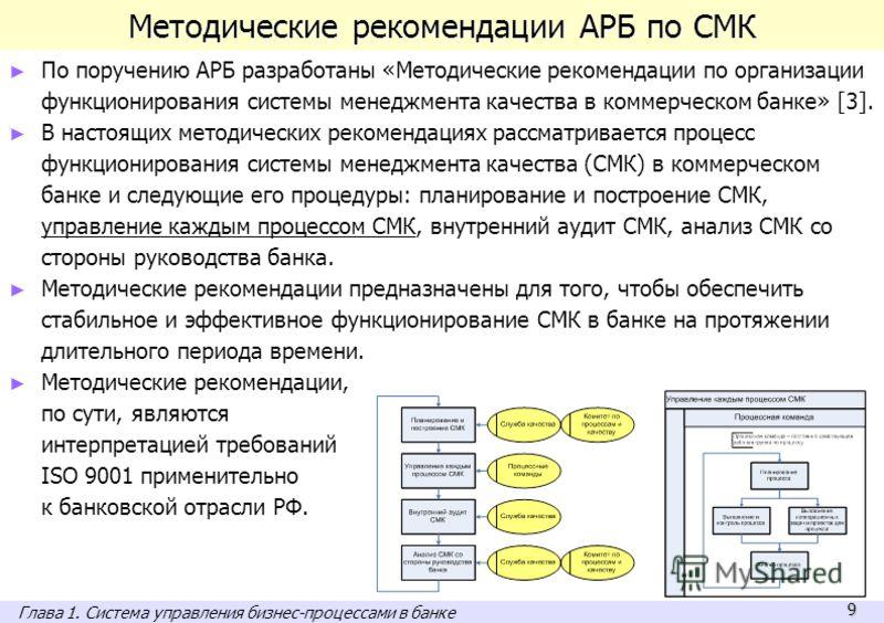 9 Методические рекомендации АРБ по СМК По поручению АРБ разработаны «Методические рекомендации по организации функционирования системы менеджмента качества в коммерческом банке» [3]. В настоящих методических рекомендациях рассматривается процесс функ