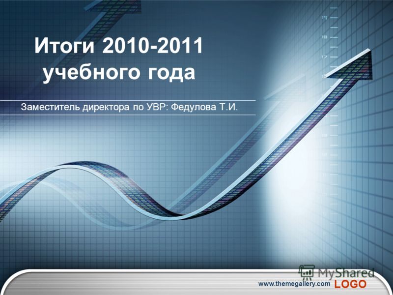 LOGO www.themegallery.com Итоги 2010-2011 учебного года Заместитель директора по УВР: Федулова Т.И.