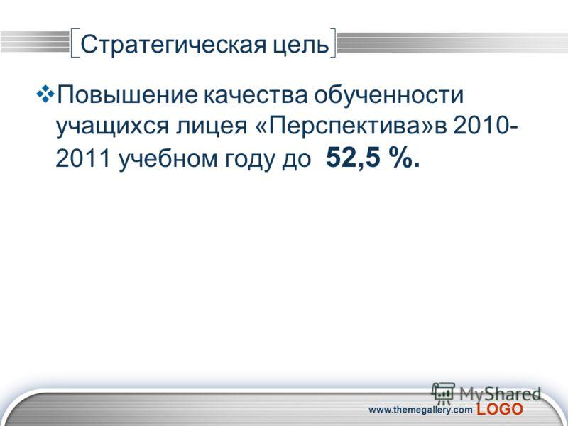 LOGO www.themegallery.com Стратегическая цель Повышение качества обученности учащихся лицея «Перспектива»в 2010- 2011 учебном году до 52,5 %.