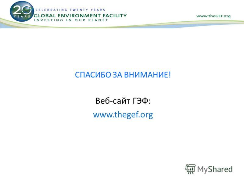 СПАСИБО ЗА ВНИМАНИЕ! Веб-сайт ГЭФ: www.thegef.org