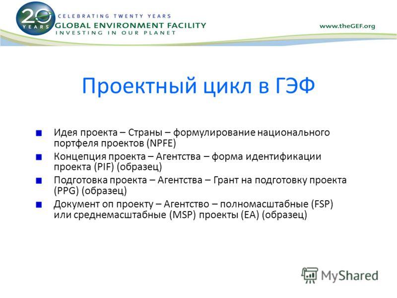 Проектный цикл в ГЭФ Идея проекта – Страны – формулирование национального портфеля проектов (NPFE) Концепция проекта – Агентства – форма идентификации проекта (PIF) (образец) Подготовка проекта – Агентства – Грант на подготовку проекта (PPG) (образец