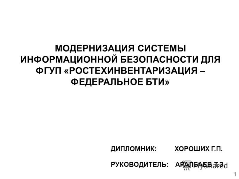 МОДЕРНИЗАЦИЯ СИСТЕМЫ ИНФОРМАЦИОННОЙ БЕЗОПАСНОСТИ ДЛЯ ФГУП «РОСТЕХИНВЕНТАРИЗАЦИЯ – ФЕДЕРАЛЬНОЕ БТИ» ДИПЛОМНИК: ХОРОШИХ Г.П. РУКОВОДИТЕЛЬ: АРАЛБАЕВ Т.З. 1