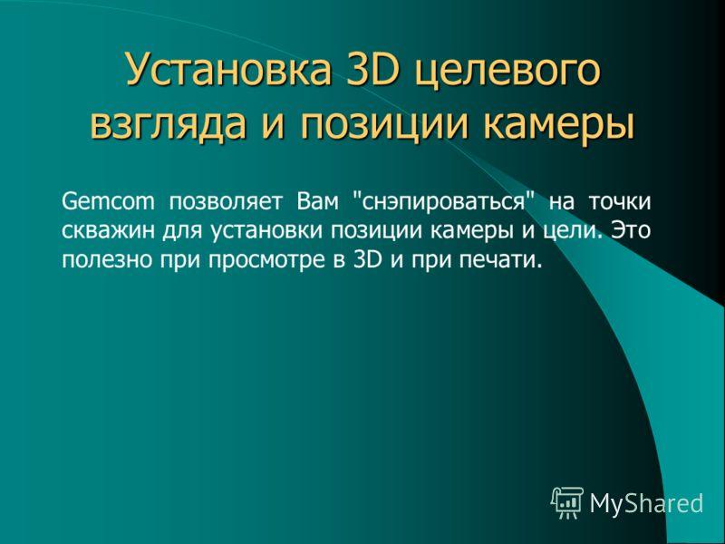 Установка 3D целевого взгляда и позиции камеры Gemcom позволяет Вам снэпироваться на точки скважин для установки позиции камеры и цели. Это полезно при просмотре в 3D и при печати.