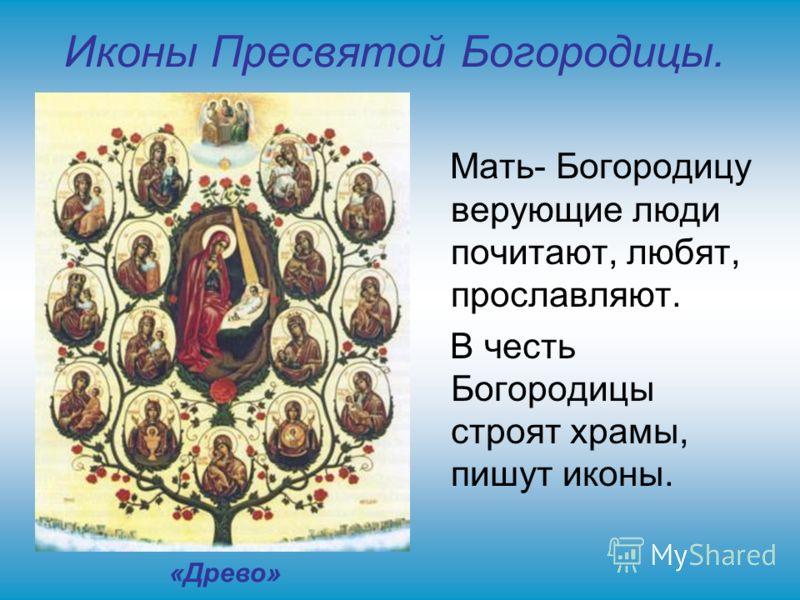Иконы Пресвятой Богородицы. Мать- Богородицу верующие люди почитают, любят, прославляют. В честь Богородицы строят храмы, пишут иконы. «Древо»