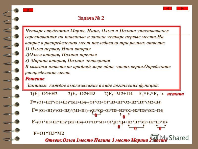 Решение задач Экзамен сдавали четыре абитуриента А,В,С,D. Известно 1)Для того, чтобы А не сдал или В сдал, необходимо, чтобы С сдал и D не сдал. 2)Для того, чтобы не сдал С, а В сдал, необходимо, чтобы А не сдал или D сдал экзамен. 3)Неверно, что для