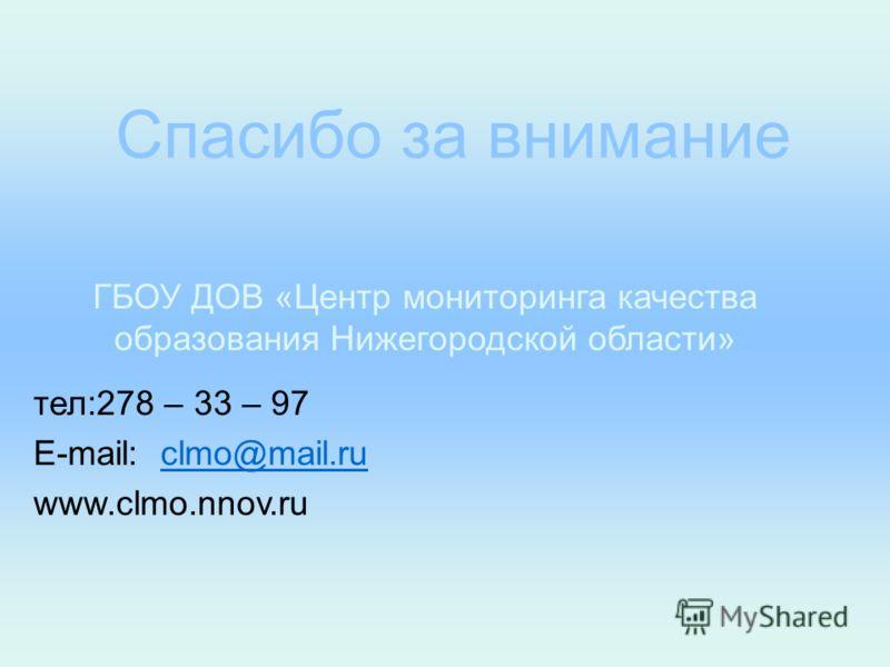 Спасибо за внимание ГБОУ ДОВ «Центр мониторинга качества образования Нижегородской области» тел:278 – 33 – 97 E-mail: clmo@mail.ruclmo@mail.ru www.clmo.nnov.ru