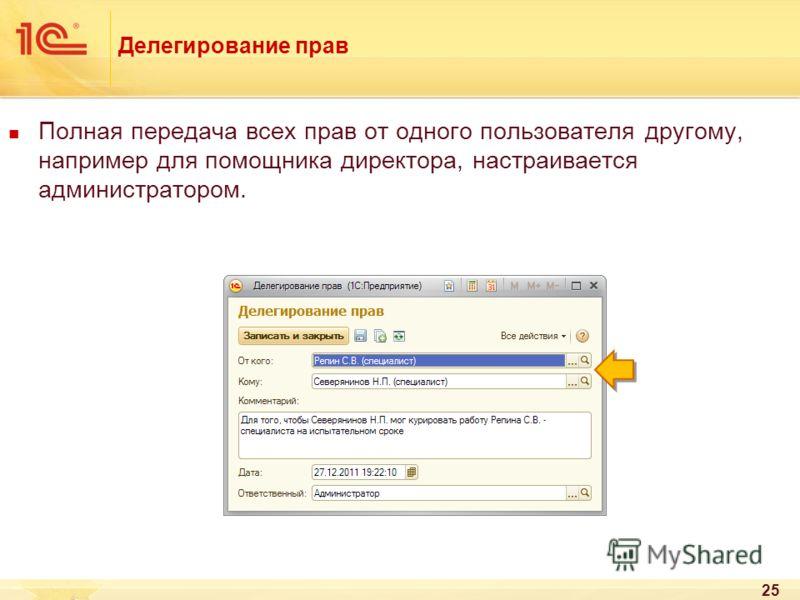 Делегирование прав Полная передача всех прав от одного пользователя другому, например для помощника директора, настраивается администратором. 25