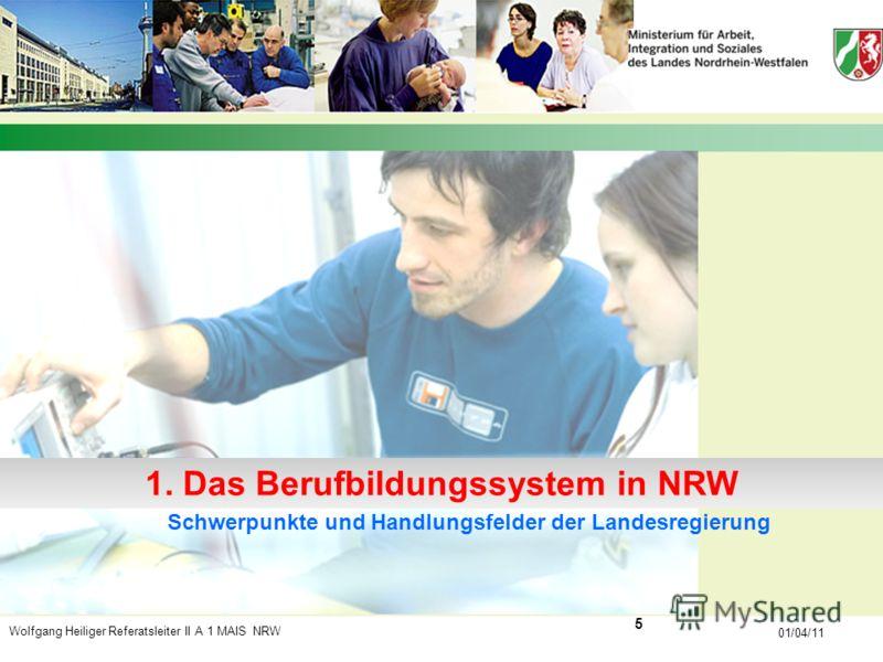 Wolfgang Heiliger Referatsleiter II A 1 MAIS NRW 01/04/11 Schwerpunkte und Handlungsfelder der Landesregierung 1. Das Berufbildungssystem in NRW 5