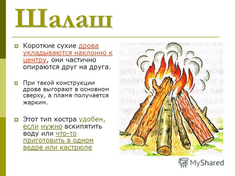 Шалаш Короткие сухие дрова укладываются наклонно к центру, они частично опираются друг на друга. При такой конструкции дрова выгорают в основном сверху, а пламя получается жарким. Этот тип костра удобен, если нужно вскипятить воду или что-то приготов