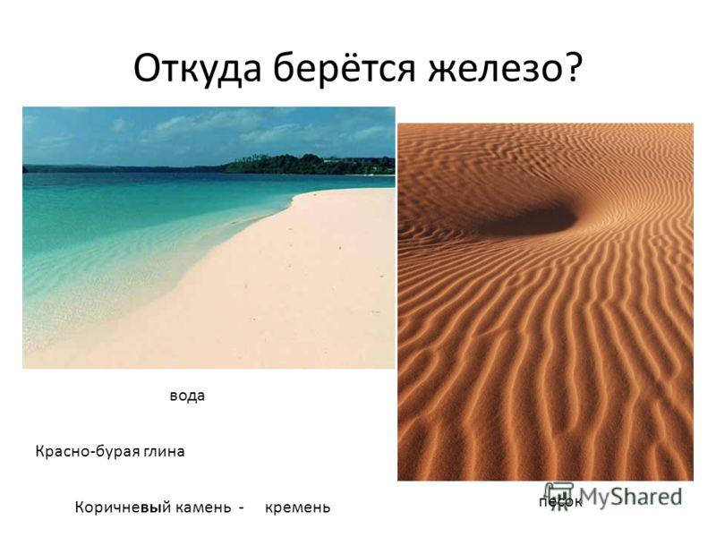 Откуда берётся железо? вода песок Красно-бурая глина Коричневый камень - кремень