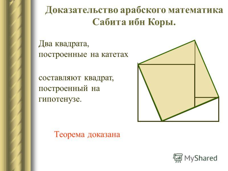 Доказательство Анайриция Квадрат, построенный на гипотенузе прямоугольного треугольника двух квадратов, построенных на катетах этого же треугольника. может быть сложен из частей Теорема доказана