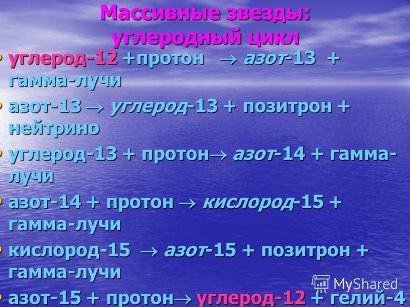 Массивные звезды: углеродный цикл углерод-12 +протон азот-13 + гамма-лучи углерод-12 +протон азот-13 + гамма-лучи азот-13 углерод-13 + позитрон + нейтрино азот-13 углерод-13 + позитрон + нейтрино углерод-13 + протон азот-14 + гамма- лучи углерод-13 +