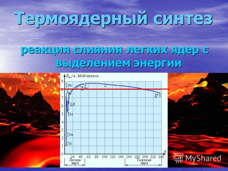 Термоядерный синтез реакция слияния легких ядер с выделением энергии