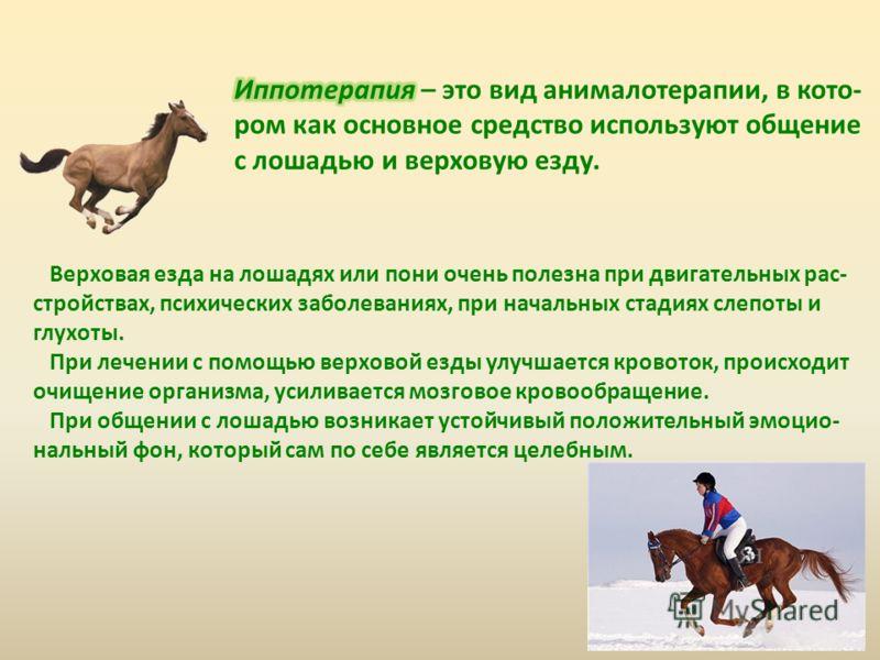 Верховая езда на лошадях или пони очень полезна при двигательных рас- стройствах, психических заболеваниях, при начальных стадиях слепоты и глухоты. При лечении с помощью верховой езды улучшается кровоток, происходит очищение организма, усиливается м