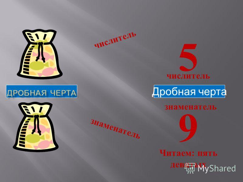 числитель знаменатель Дробная черта числитель знаменатель 5 9 Читаем : пять девятых