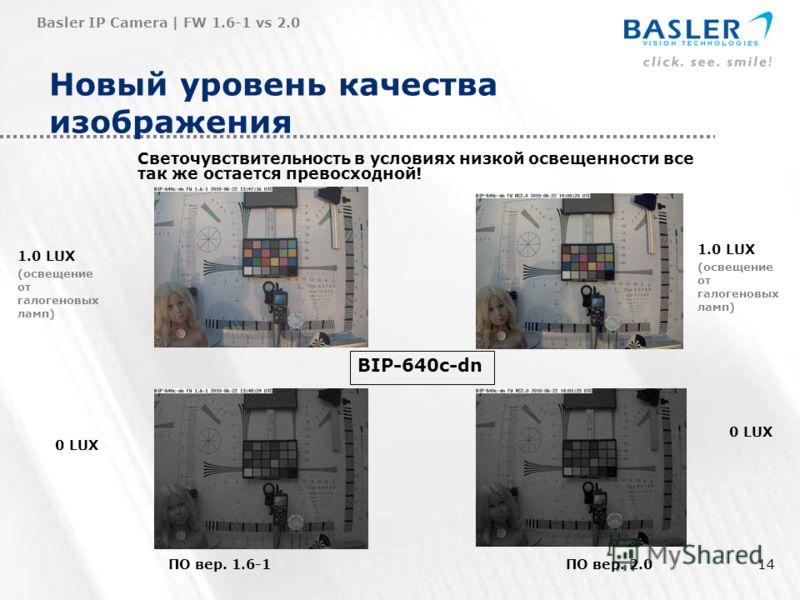 14 Новый уровень качества изображения Basler IP Camera | FW 1.6-1 vs 2.0 ПО вер. 1.6-1ПО вер. 2.0 0 LUX BIP-640c-dn 1.0 LUX (освещение от галогеновых ламп) 1.0 LUX (освещение от галогеновых ламп) 0 LUX Светочувствительность в условиях низкой освещенн