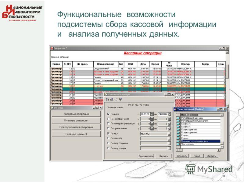 Функциональные возможности подсистемы сбора кассовой информации и анализа полученных данных.