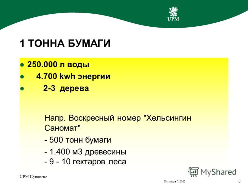 November 7, 2012 UPM-Kymmene 5 1 ТОННА БУМАГИ 250.000 л воды 4.700 kwh энергии 2-3 дерева Напр. Воскресный номер Хельсингин Саномат - 500 тонн бумаги - 1.400 м3 древесины - 9 - 10 гектаров леса