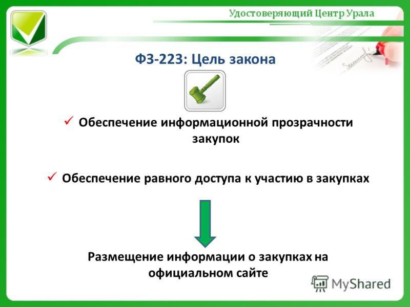 ФЗ-223: Цель закона Обеспечение информационной прозрачности закупок Обеспечение равного доступа к участию в закупках Размещение информации о закупках на официальном сайте