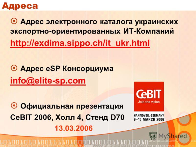 Адреса Адрес электронного каталога украинских экспортно-ориентированных ИТ-Компаний http://exdima.sippo.ch/it_ukr.html Адрес eSP Консорциума info@elite-sp.com Официальная презентация CeBIT 2006, Холл 4, Стенд D70 13.03.2006
