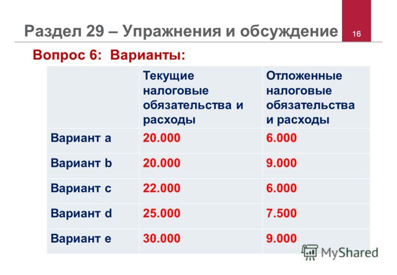 16 Раздел 29 – Упражнения и обсуждение Вопрос 6: Варианты: Текущие налоговые обязательства и расходы Отложенные налоговые обязательства и расходы Вариант a20.0006.000 Вариант b20.0009.000 Вариант c22.0006.000 Вариант d25.0007.500 Вариант e30.0009.000