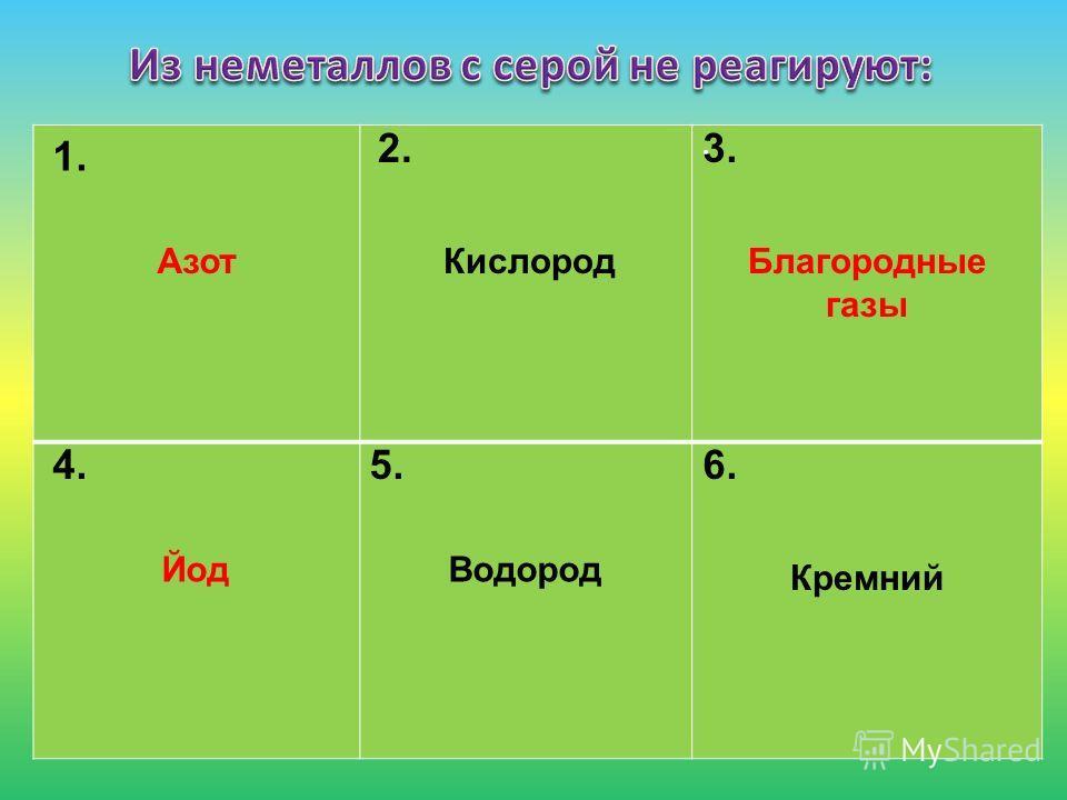 . 1. 2.3. 4.5.6. Азот КислородБлагородные газы Йод Водород Кремний