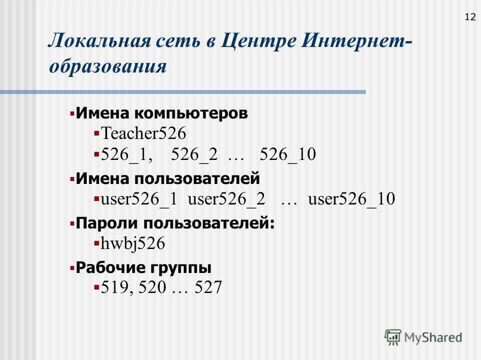 12 Локальная сеть в Центре Интернет- образования Имена компьютеров Teacher526 Teacher526 526_1, 526_2 … 526_10 526_1, 526_2 … 526_10 Имена пользователей user526_1 user526_2 … user526_10 user526_1 user526_2 … user526_10 Пароли пользователей: hwbj526 h