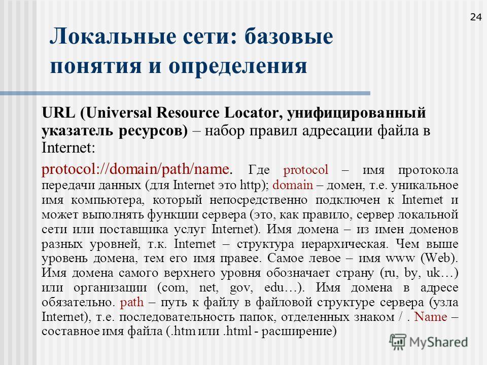 24 Локальные сети: базовые понятия и определения URL (Universal Resource Locator, унифицированный указатель ресурсов) – набор правил адресации файла в Internet: protocol://domain/path/name. Где protocol – имя протокола передачи данных (для Internet э