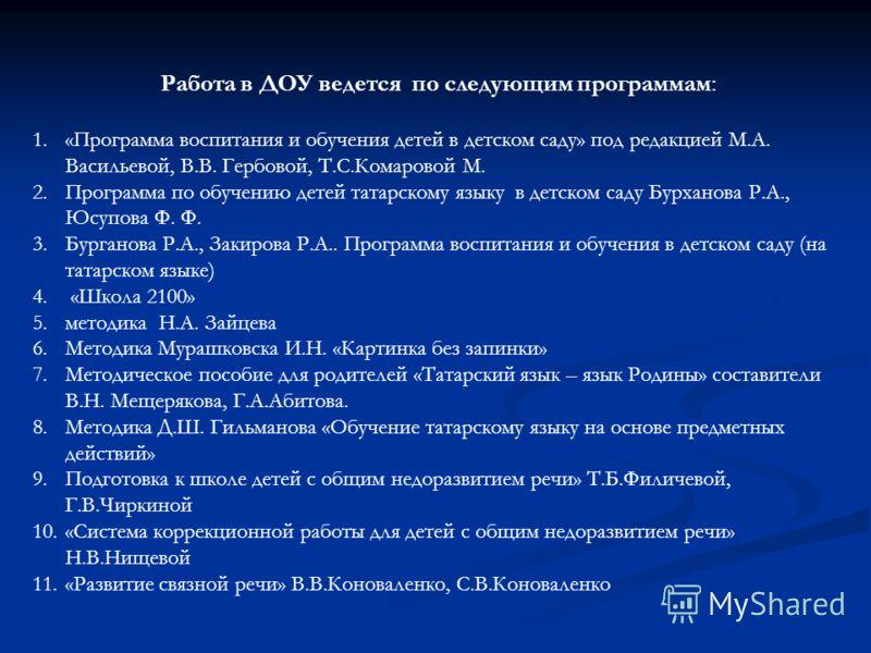 В ДОУ функционирует 12 групп из них: Две логопедические группы для детей с ОНР – 2 года обучения (старшая и подготовительная) Две логопедические группы для детей с ОНР – 2 года обучения (старшая и подготовительная) Две татарские группы ( 2 младшая и