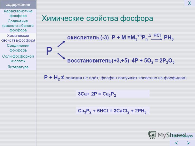 Химические свойства фосфора На главную Х Р + Н 2 реакция не идёт, фосфин получают косвенно из фосфидов : окислитель (-3) Р + М =М 3 + n Р n -3 HCl PH 3 восстановитель(+3,+5) 4P + 5O 2 = 2P 2 O 5 содержание 3Ca+ 2P = Ca 3 P 2 Ca 3 P 2 + 6HCl = 3CaCl 2