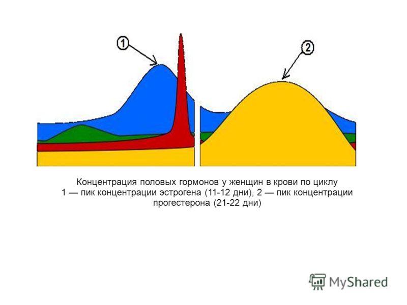 Концентрация половых гормонов у женщин в крови по циклу 1 пик концентрации эстрогена (11-12 дни), 2 пик концентрации прогестерона (21-22 дни)