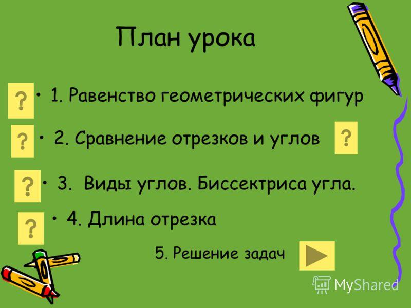 План урока 1. Равенство геометрических фигур 2. Сравнение отрезков и углов 3. Виды углов. Биссектриса угла. 4. Длина отрезка 5. Решение задач