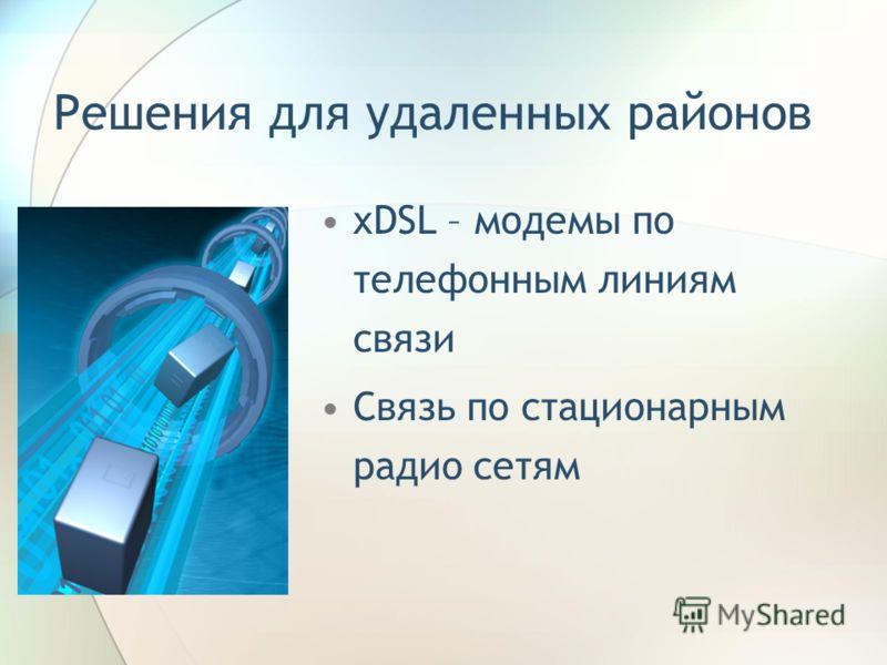 Решения для удаленных районов xDSL – модемы по телефонным линиям связи Связь по стационарным радио сетям