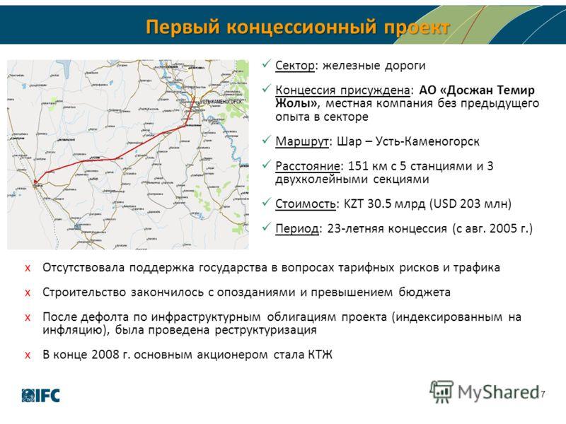 Первый концессионный проект Сектор: железные дороги Концессия присуждена: АО «Досжан Темир Жолы», местная компания без предыдущего опыта в секторе Маршрут: Шар – Усть-Каменогорск Расстояние: 151 км с 5 станциями и 3 двухколейными секциями Стоимость: