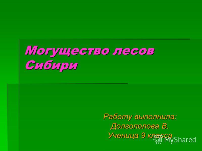 Могущество лесов Сибири Работу выполнила: Долгополова В. Ученица 9 класса