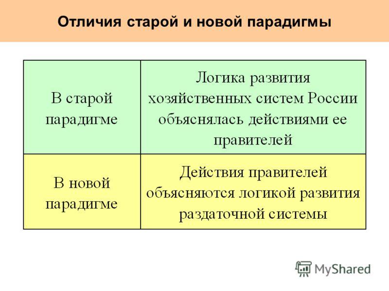 Отличия старой и новой парадигмы