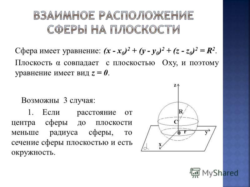 Сфера имеет уравнение: (x - x 0 ) 2 + (y - y 0 ) 2 + (z - z 0 ) 2 = R 2. Плоскость α совпадает с плоскостью Oxy, и поэтому уравнение имеет вид z = 0. Возможны 3 случая: 1. Если расстояние от центра сферы до плоскости меньше радиуса сферы, то сечение