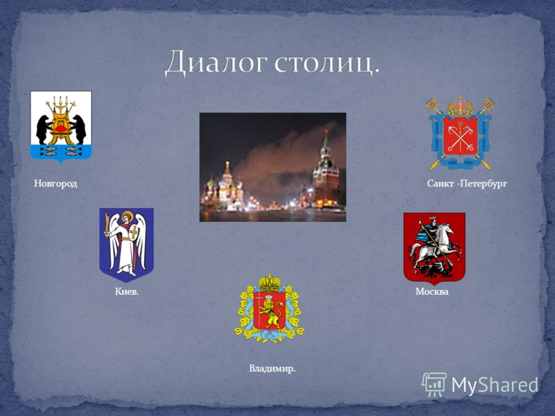 Новгород Санкт -Петербург Киев.Москва Владимир.