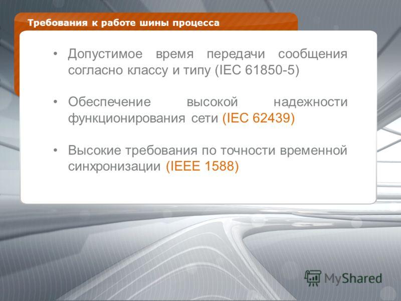 Требования к работе шины процесса Допустимое время передачи сообщения согласно классу и типу (IEC 61850-5) Обеспечение высокой надежности функционирования сети (IEC 62439) Высокие требования по точности временной синхронизации (IEEE 1588)