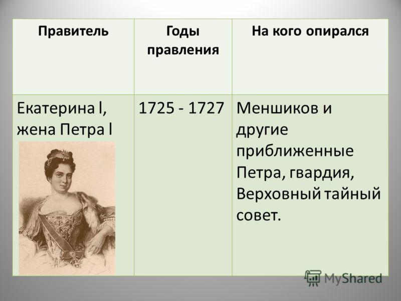 ПравительГоды правления На кого опирался Екатерина l, жена Петра l 1725 - 1727Меншиков и другие приближенные Петра, гвардия, Верховный тайный совет.