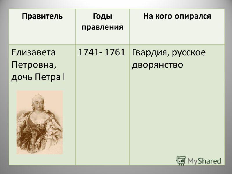 ПравительГоды правления На кого опирался Елизавета Петровна, дочь Петра l 1741- 1761Гвардия, русское дворянство