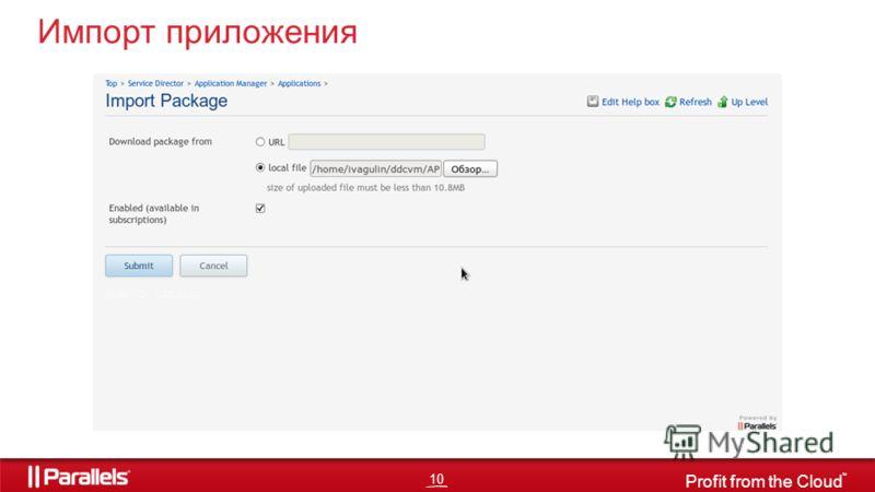 10 Profit from the Cloud TM Импорт приложения