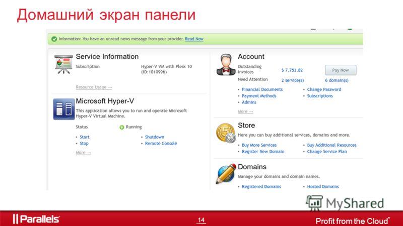 14 Profit from the Cloud TM Домашний экран панели