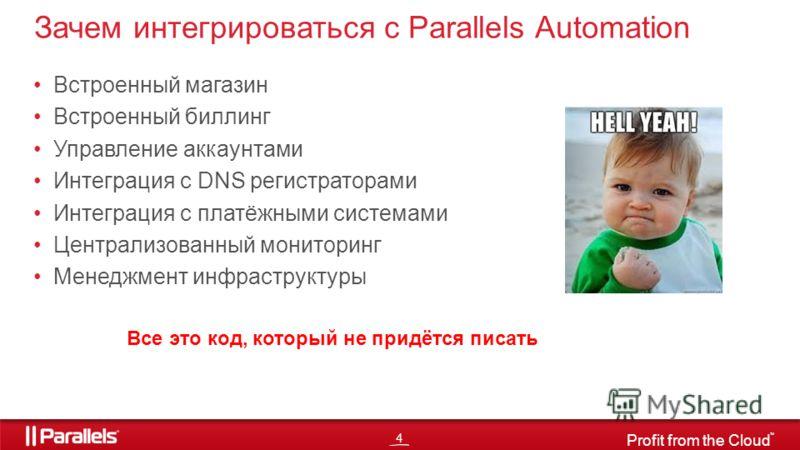 4 Profit from the Cloud TM Встроенный магазин Встроенный биллинг Управление аккаунтами Интеграция с DNS регистраторами Интеграция с платёжными системами Централизованный мониторинг Менеджмент инфраструктуры Зачем интегрироваться с Parallels Automatio