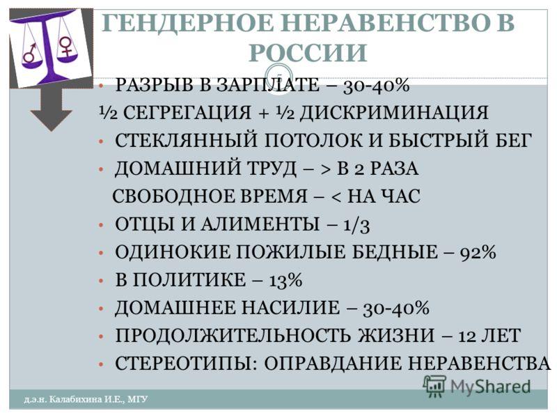 ГЕНДЕРНОЕ НЕРАВЕНСТВО В РОССИИ ГР РАЗРЫВ В ЗАРПЛАТЕ – 30-40% ½ СЕГРЕГАЦИЯ + ½ ДИСКРИМИНАЦИЯ СТЕКЛЯННЫЙ ПОТОЛОК И БЫСТРЫЙ БЕГ ДОМАШНИЙ ТРУД – > В 2 РАЗА СВОБОДНОЕ ВРЕМЯ – < НА ЧАС ОТЦЫ И АЛИМЕНТЫ – 1/3 ОДИНОКИЕ ПОЖИЛЫЕ БЕДНЫЕ – 92% В ПОЛИТИКЕ – 13% ДО