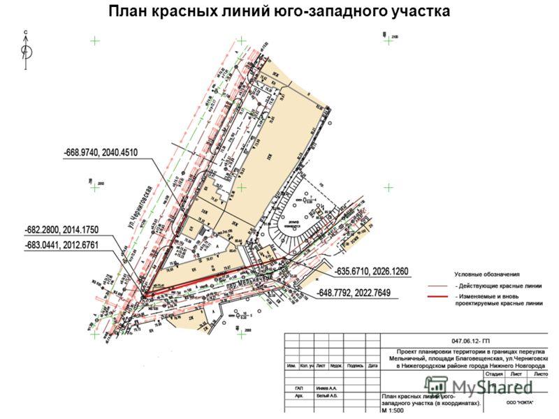 План красных линий юго-западного участка