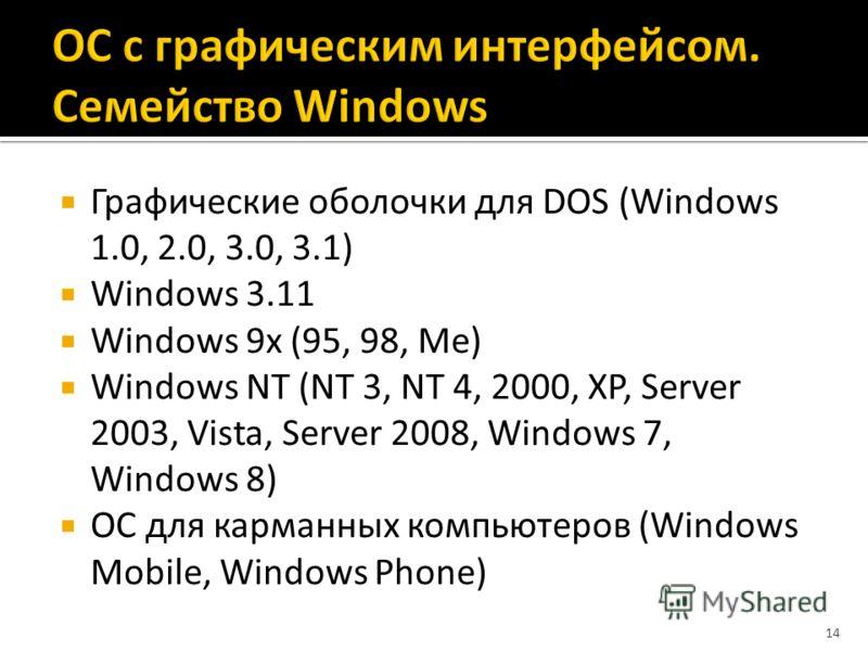Графические оболочки для DOS (Windows 1.0, 2.0, 3.0, 3.1) Windows 3.11 Windows 9x (95, 98, Me) Windows NT (NT 3, NT 4, 2000, XP, Server 2003, Vista, Server 2008, Windows 7, Windows 8) ОС для карманных компьютеров (Windows Mobile, Windows Phone) 14