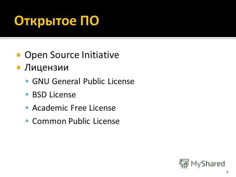 Open Source Initiative Лицензии GNU General Public License BSD License Academic Free License Common Public License 8